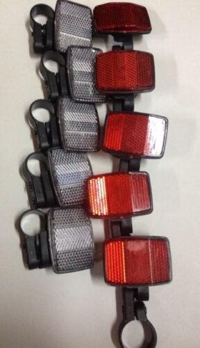 Red Handlebar Seatpost Bike Safety 25.4mm 5 Sets Bicycle ReflectorsWhite