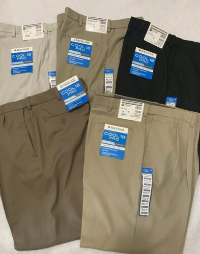Men/'s Haggar Cool 18 PRO Classic Fit No Iron Comfort 4 way Stretch Pleated Pants