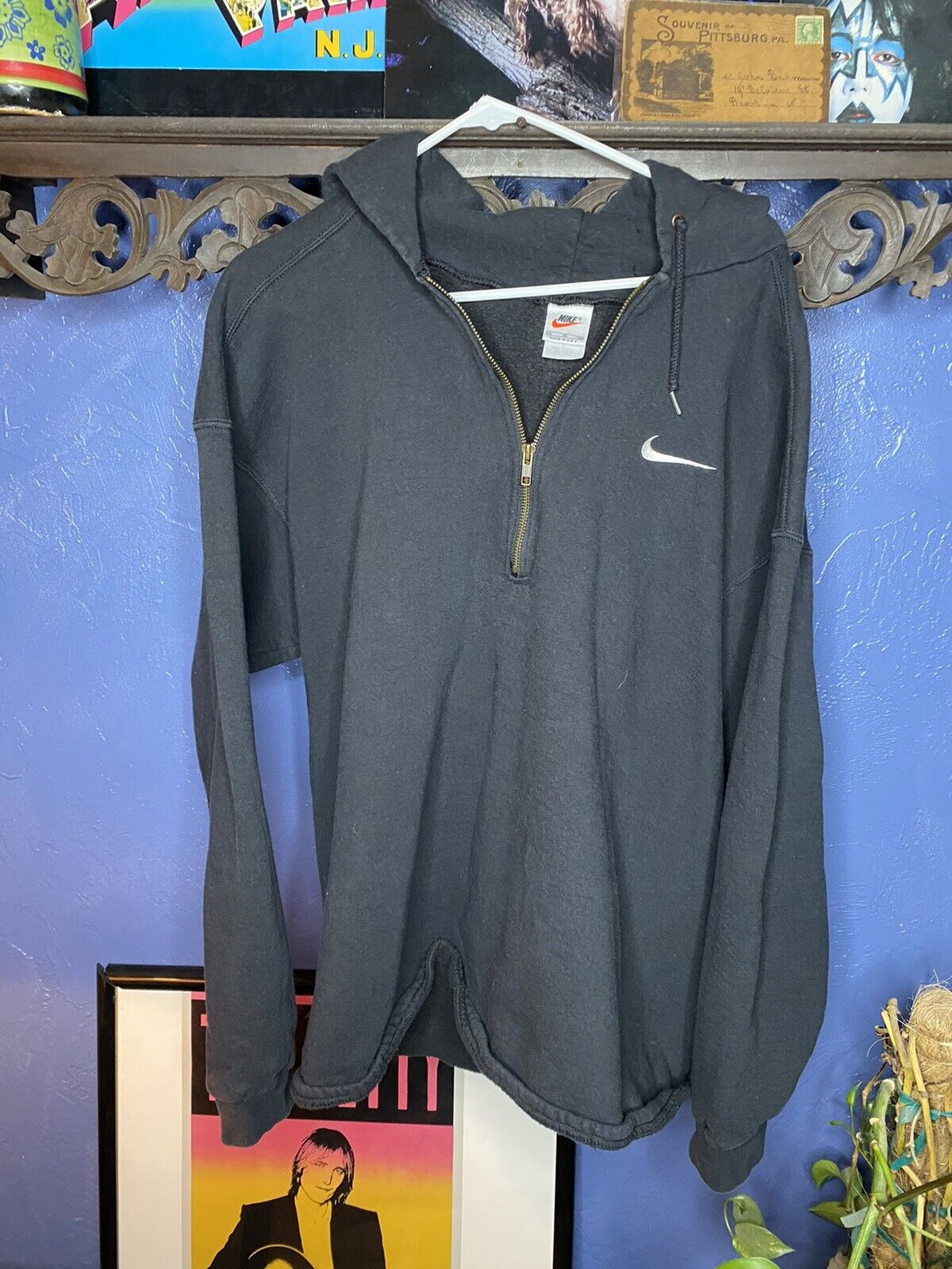 Nike Hoodie Vintage 1990s White Tag Mens XL Black… - image 1