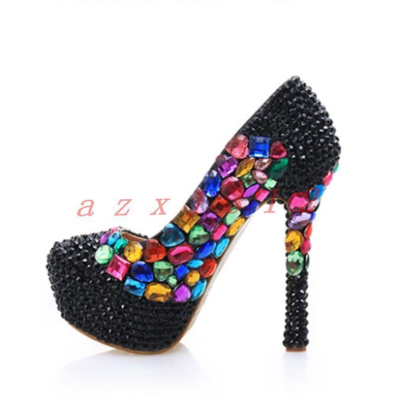 Hot Womens Crystal Rhinestones Stilettos High Heel Platform Shoes Wedding Party