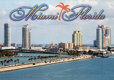 South Miami Florida, Causeway, Biscayne Bay, Condo Buildings etc. FL -- Postcard