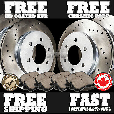 Z0143 Performance Cross Drilled Brake Rotors /& Ceramic Pads FRONT+REAR SET