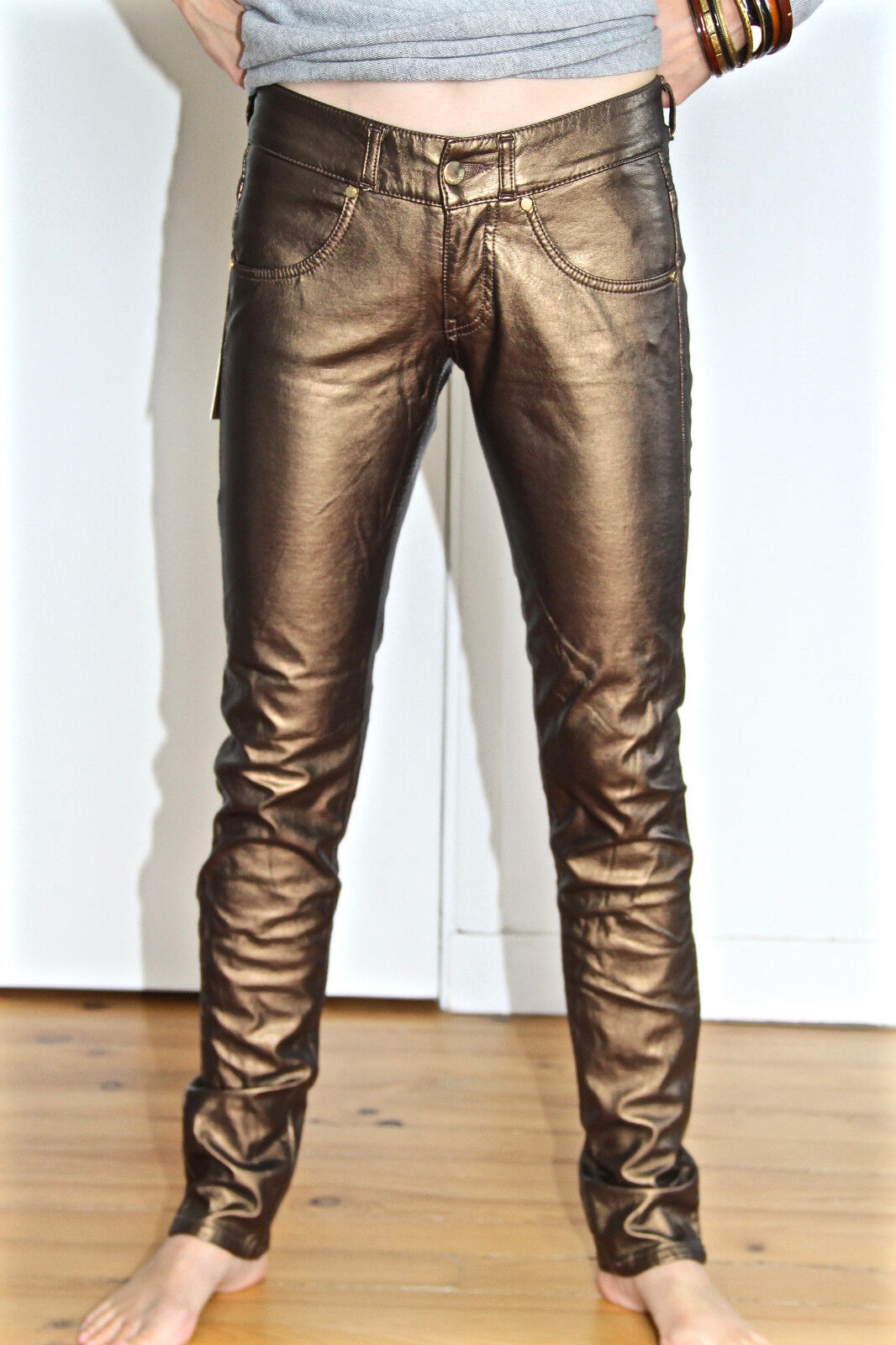 Sexy trousers falsely leather bronze MET AND FRIENDS bidys T 27 (36) NEW value