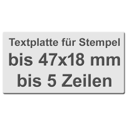 Textplatte für Stempel 47 x 18 mm Holzgriffe Colop 5 Zeilen Trodat #1473