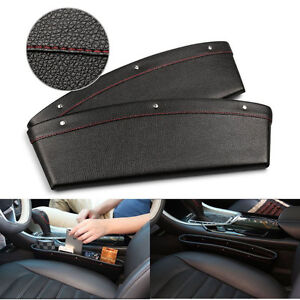 2-x-Black-Leather-Car-Storage-Box-Seat-Side-Slit-Catcher-Gap-Filler-Organizer