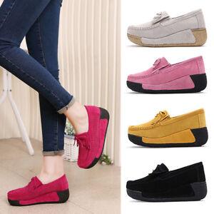 New-Women-Tassel-Platform-Wedge-Ballet-Suede-Slip-On-Loafers-Moccasin-Boat-Shoes