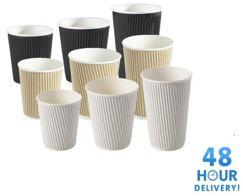 Details about  /Disposable Coffee Paper Tea Cups 8 10 12 16oz Insulated Ripple Black White Brown