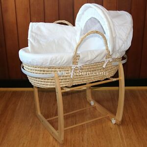 Baby-Moses-Bassinet-Natural-Wooden-Side-Rocking-Stand-White-Waffle-Bedding