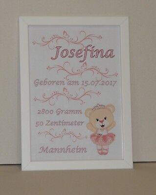 "Geschenk Geburt Bilderrahmen personalisiert Baby /""Storch/"" rosa Taufe"