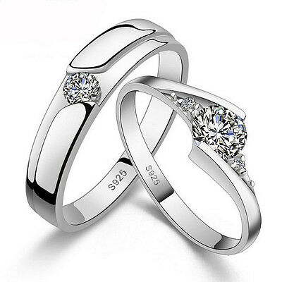 Jewelry Men Women White Topaz Gemstones 925 Silver plated Wedding Ring