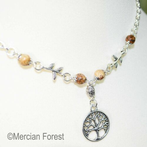 Pagan Jewellery Wicca Druid Pentacle Tree of Life Necklace Picture Jasper