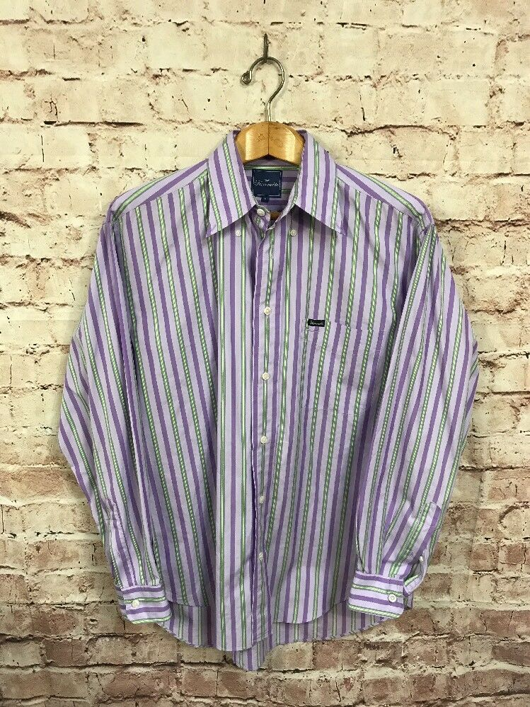 Faconnable Shirt Medium Purple Green greenical Stripe Long Sleeve Button Front