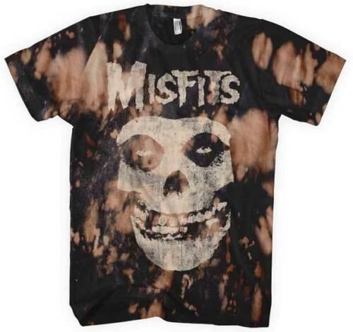 XL 2XL Black T-Shirt M Misfits Classic Fiend Skull Bleach Spots S L