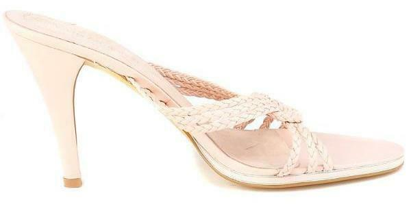 New ENZO ANGIOLINI Women Pink Leather Open Toe Heel Heel Heel Slide Sandal shoes Sz 7.5 M 49e544