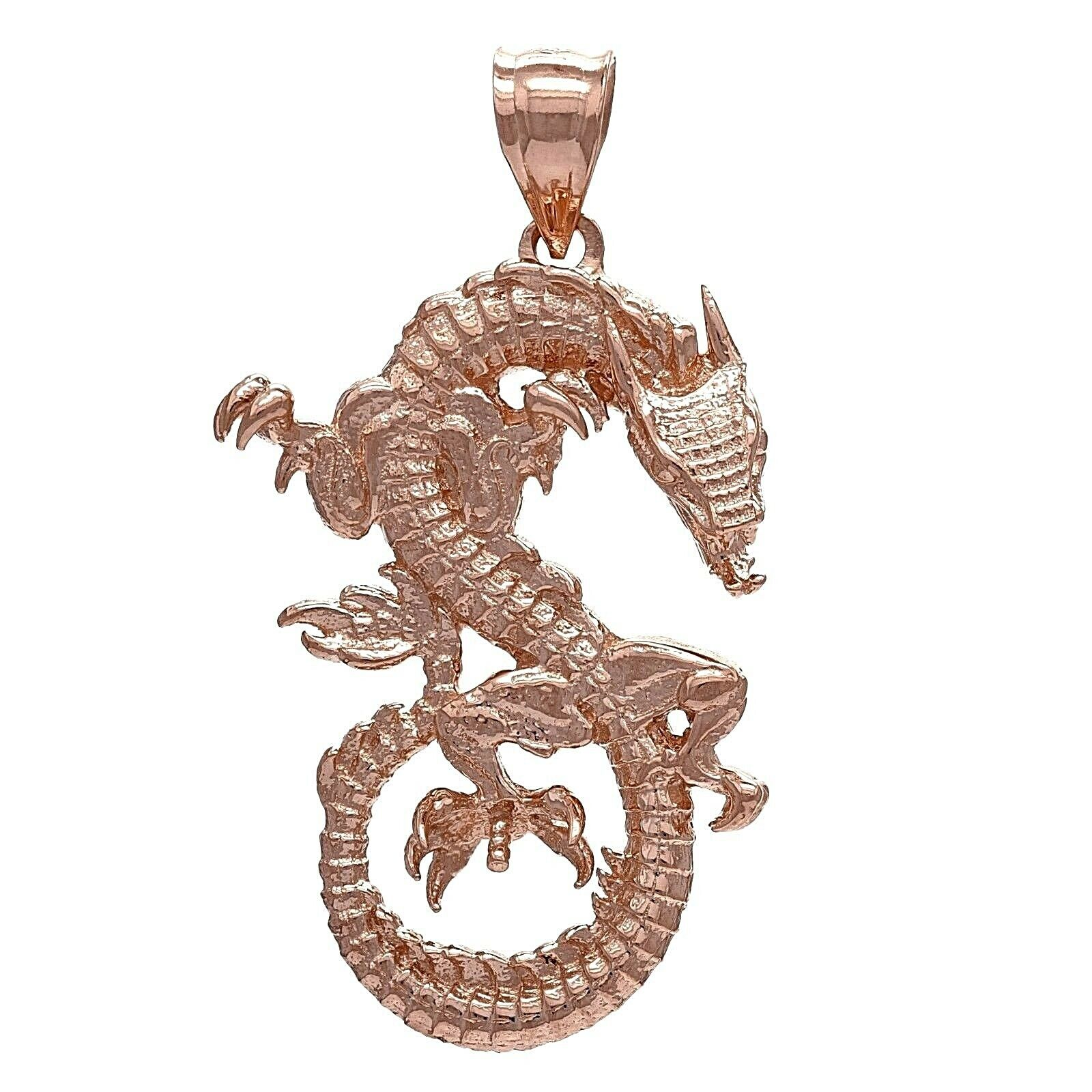 10k Yellow White or Rose Gold Solid Detailed 3D Good Luck Dragon Pendant