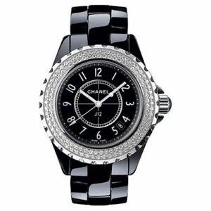 Details About Chanel J12 Black Ceramic 33mm Double Row Diamond Bezel Watch Midsize Rare
