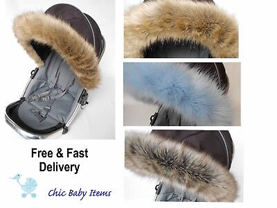 Hartig Egg Pram Faux Fur Trim Hood Pram Pushchair Custom Order / Universal Fit