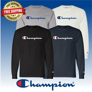 Original-Champion-Men-039-s-Classic-Jersey-Script-Long-Sleeve-T-Shirt