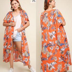 New UMGEE Open Front Kimono Cardigan Duster Boho Print Flower Long Size 1XL