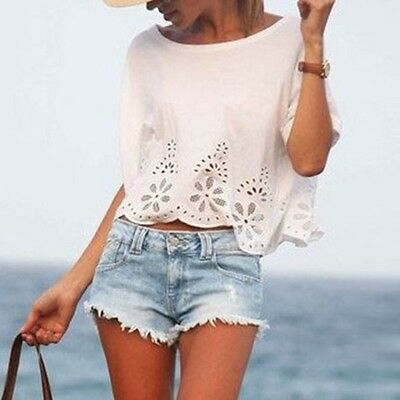 Hot Women Casual Chiffon Blouse Short Sleeve Shirt Summer Blouse Tops T-shirt