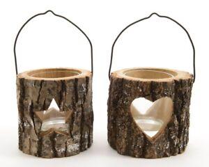 teelicht windlicht holz zum h ngen tannenholz mit glaseinsatz herz stern 2er set ebay. Black Bedroom Furniture Sets. Home Design Ideas