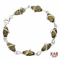 Green Baltic Amber Sterling Silver 925 Jewellery Bracelets Beauty Stone, Kab-50