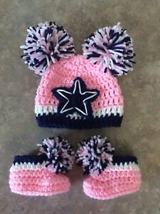 Crochet Newborn 3 Month Pink Dallas Cowboys Hat Booties Photo