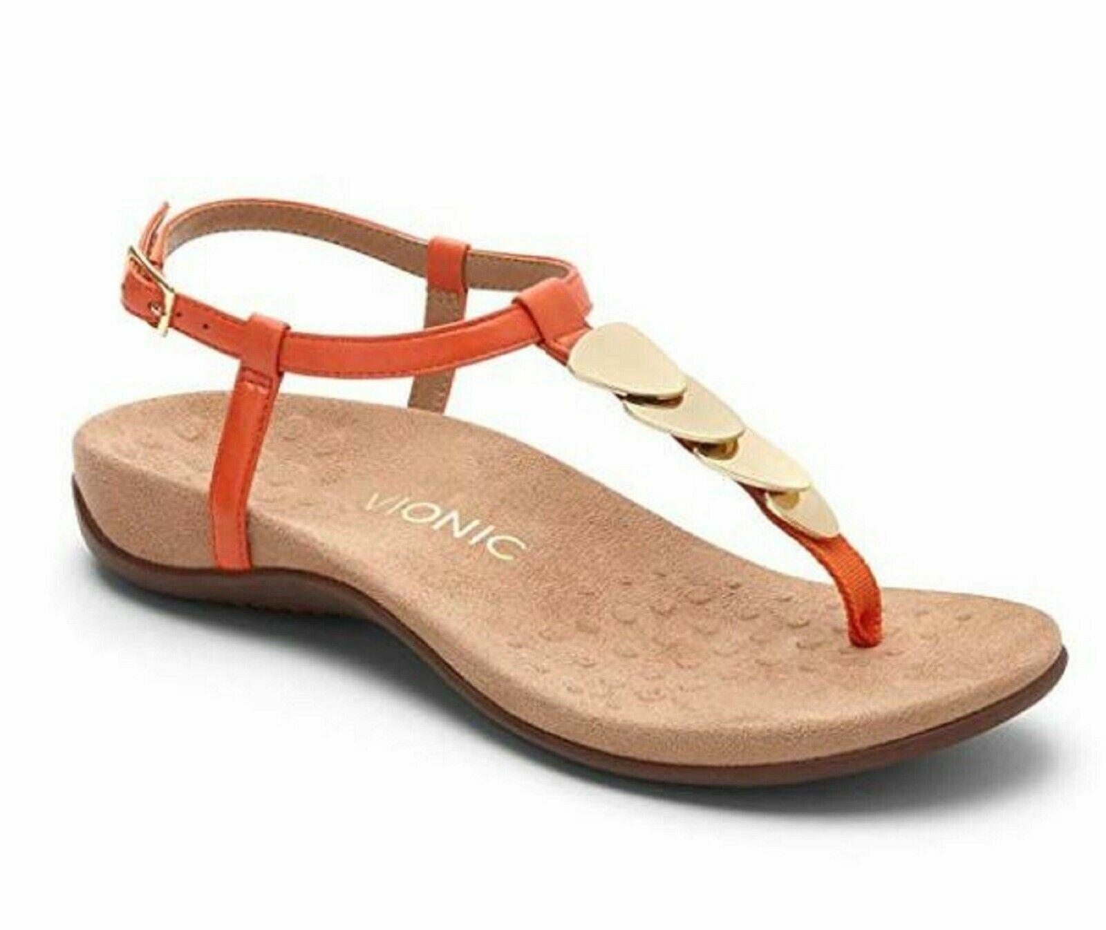 Femmes Vionic Repos Miami T-Sangle Sandales Tongs Cuir Orange or Sz 8-11 Nib