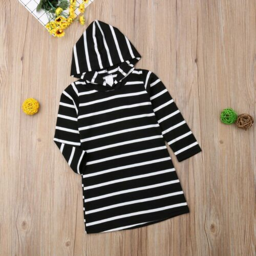 Casual Long Sleeved Hooded Pullover Type Dress For Toddler Girls Striped Pattern