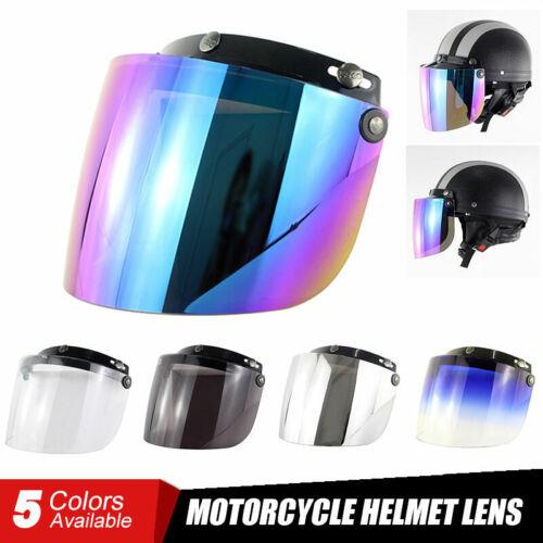 3 Snap Flip Up Visor Shield Lens Retro Open Face Motorcycle Helmet Anti Fog UV