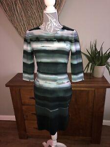 Phase-Eight-Damas-buscada-Verde-Azul-Vestido-Blanco-Talla-12