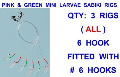 3 PINK /& GREEN MINI LARVAE SABIKI RIGS 6 HOOK SIZE 6 SEA FISHING LIVE BAIT LURES