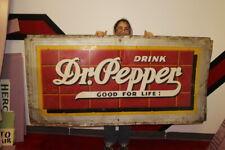"""Large Vintage 1940's Dr Pepper Soda Pop Gas Station 72"""" Embossed Metal Sign"""