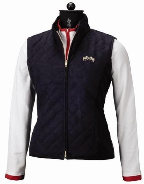 Equine Couture Spinnaker micro gamuza para mujer Vest, azul marino, 3X
