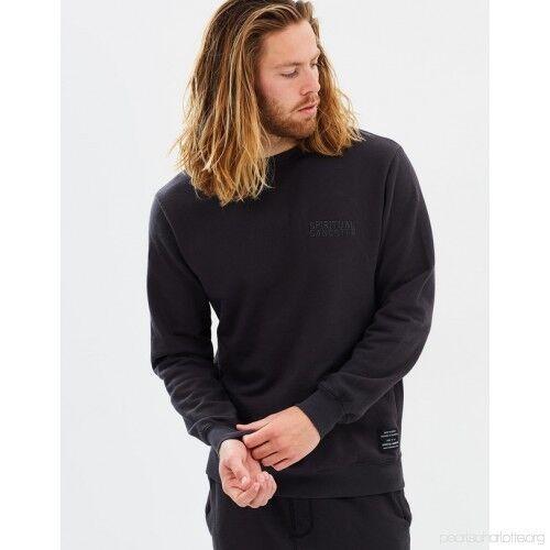 m s men/'s pullover sg spiritual gangster varsity fleece crewneck black
