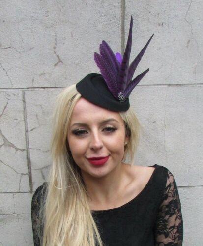 Black Dark Purple Pheasant Feather Pillbox Hat Hair Clip Fascinator Races 6855