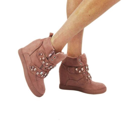 Damas Para Mujeres Cuña Oculta Tenis Botas al Tobillo Zapatos Hi High Top Tamaños Reino Unido 3-8