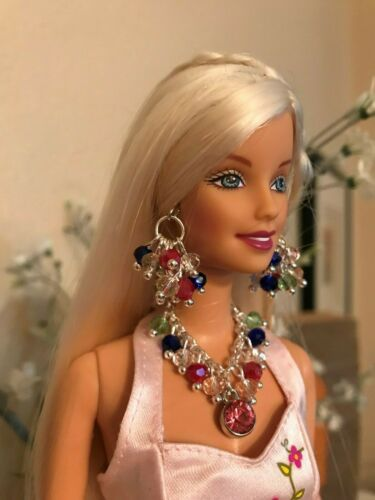 Barbie Handmade Jewelry Pink Pendant and Multi Crystals Necklace and Earrings