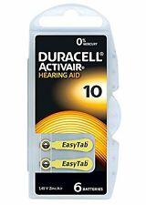Pack of 6 Duracell 10 DA10 n6 A10 Yellow Tab Activair Hearing Aid  Batteries