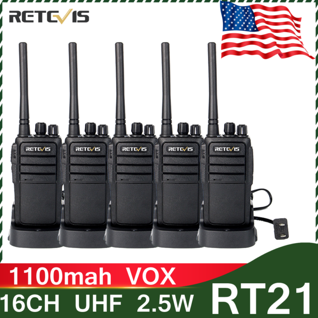 8×Retevis RT21 Walkie Talkie UHF 2W 16Ch CTCSS//DCS VOX+8×MIC US Business Radio