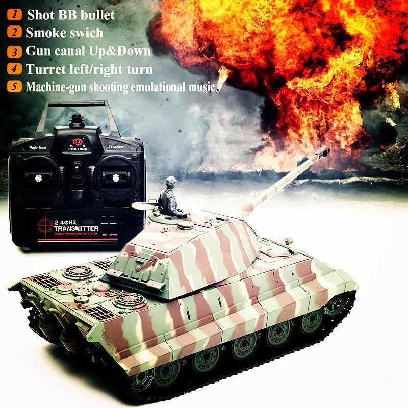 Henglong 1 16 Radio Control tanque German Tiger 2.4G batalla Sonido Radio Militar I vehículo  GD
