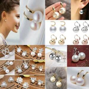 Fashion-Gold-Silver-Crystal-Flower-Pearl-Ear-Stud-Earrings-Plain-Women-Jewelry