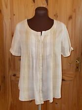 KOOKAI beige oatmeal sand check plaid short sleeve blouse shirt top tunic 8 36
