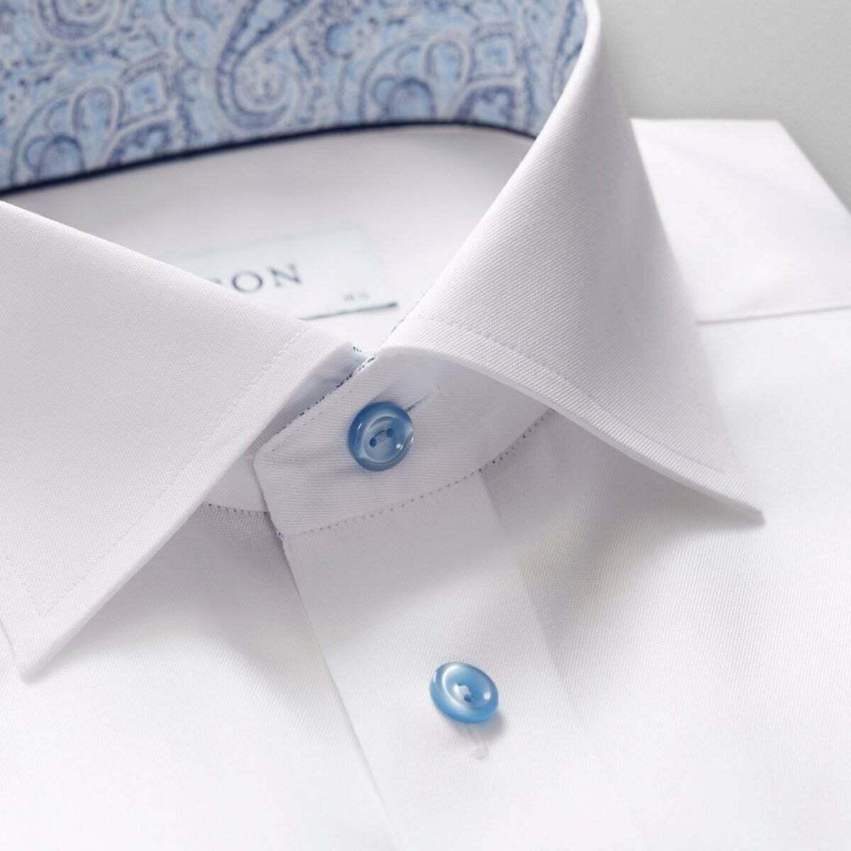 ETON Weiß hemd WITH LIGHT Blau BUTTONS AND TRIM