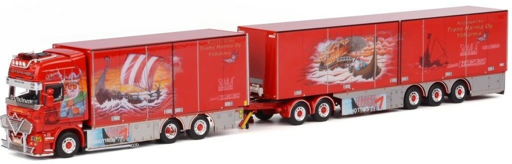 WSI01-1028 - Camion 6x2 SCANIA R Topline porteur combi remorque 3 essieux et dol