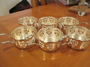 Details About Coffee Mugs Cups Espresso Stainless Steel Holder Glass Inserts 6 Piece