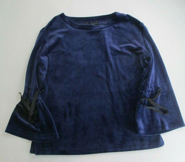 Sanctuary Women's Tierney Tie Sleeve Velour Top Blue Size Small