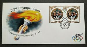 1996-New-Zealand-Sports-Atlanta-Olympic-Games-Gold-Medal-Winners-2v-Stamps-FDC