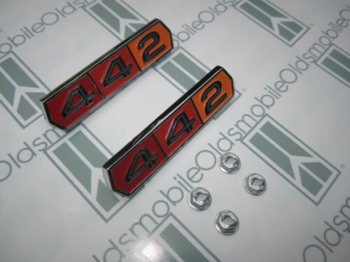 "2 1964-1965 Olds Cutlass /""442/"" Emblems w// HardwareChrome Plated Tri-Color"