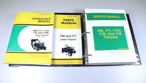 Service Operators Parts Manual Set For John Deere 108 111 Lawn